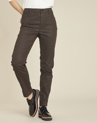 Vendôme 7/8 length ebony coated jeans dark brown.