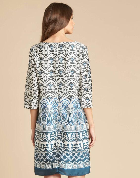 Robe bleue imprimée Passiflore (4) - 1-2-3
