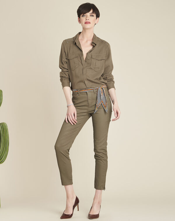 Cendrine soft khaki shirt with decorative shoulders (2) - 1-2-3