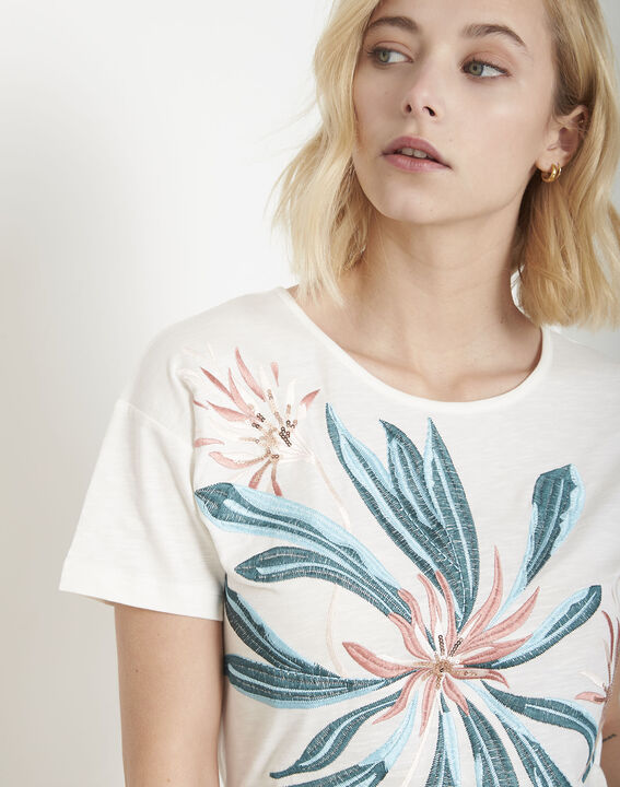 Tee-shirt écru brodé Plage (3) - Maison 123