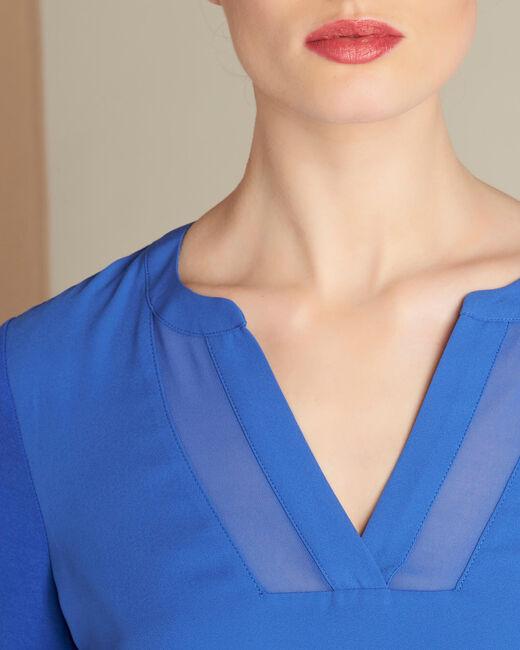 Bianca royal blue dual-fabric T-shirt with fishnet neckline (1) - 1-2-3