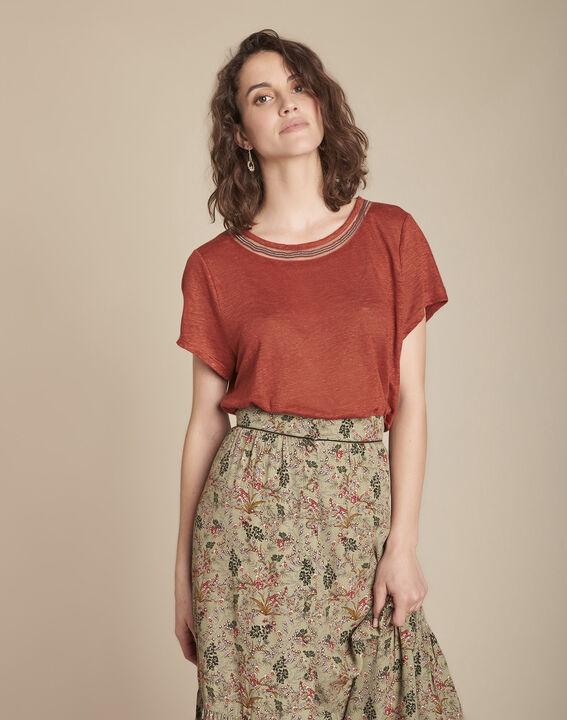 Tee-shirt acajou en lin Panette PhotoZ | 1-2-3