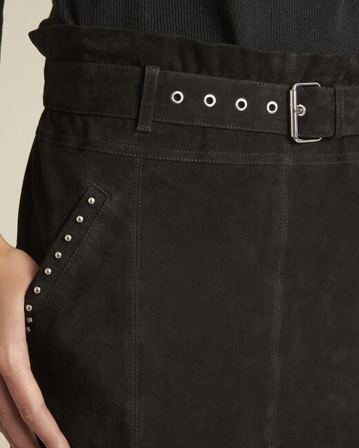 Jupe noire oeillets en cuir velours Apache (2) - 1-2-3
