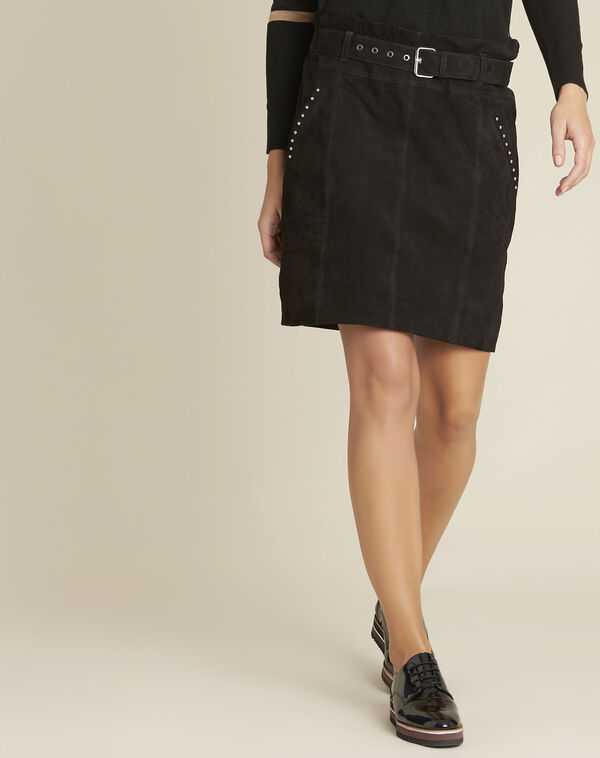 Apache black suede leather skirt with eyelets (1) - 1-2-3