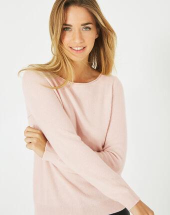 Petunia powder pink, cashmere sweater with round neck powder.