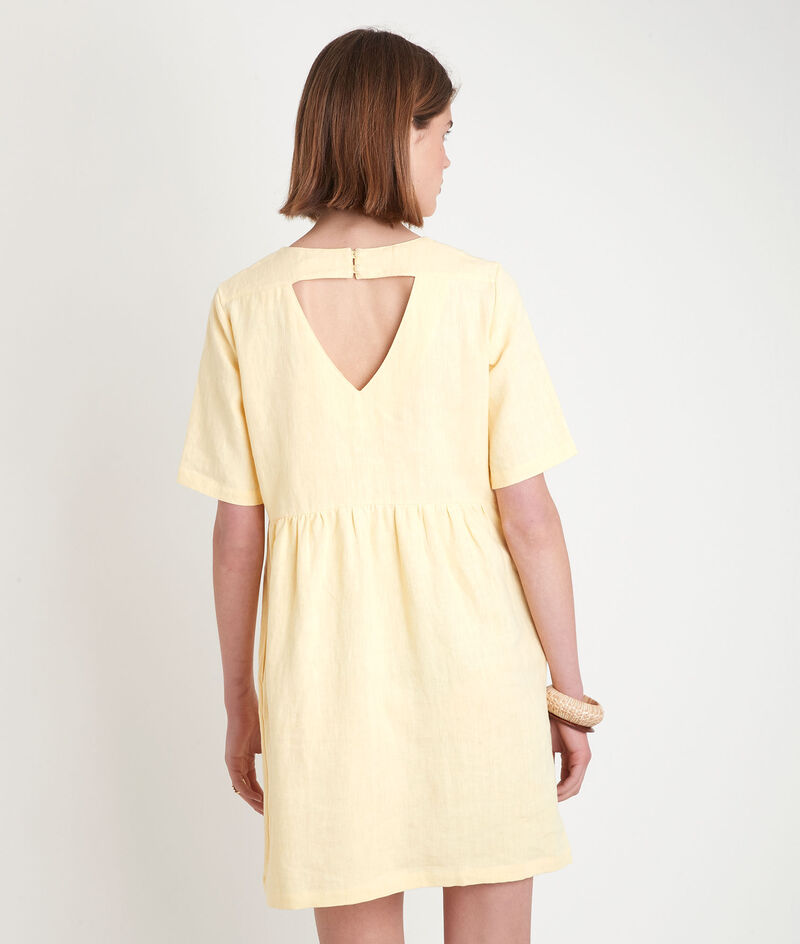 Robe courte en lin certifié jaune Latoya PhotoZ   1-2-3