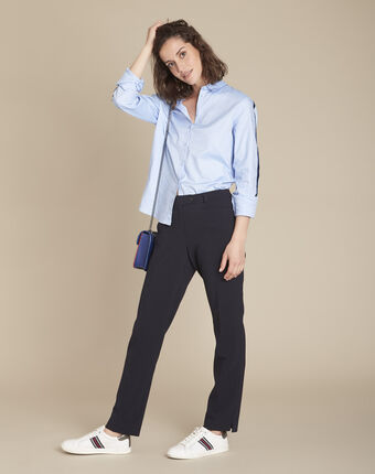 Valero tailored, pleated trousers in navy navy.