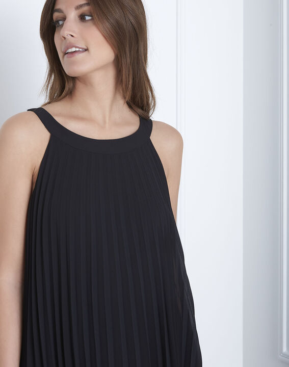 Langes plissiertes schwarzes Kleid Nice (3) - 1-2-3