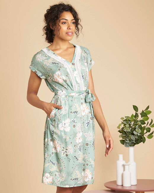 Prisme almond dress with floral print and lace (2) - 1-2-3