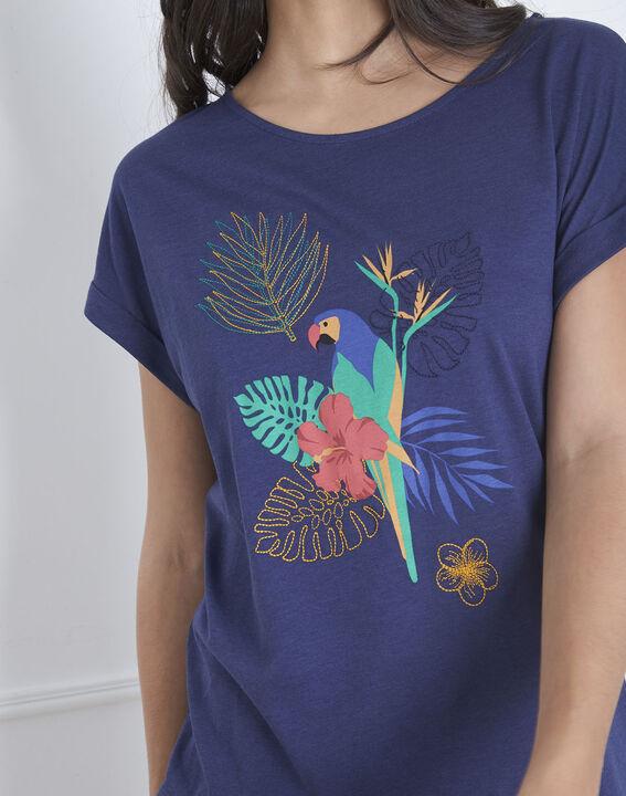 Tee-shirt bleu imprimé perroquet Petropolis (3) - Maison 123