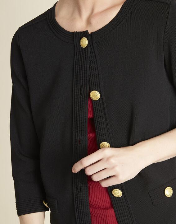 Bonny black knit cardigan with golden buttons - Maison Cent Vingt-Trois 4a738b35a