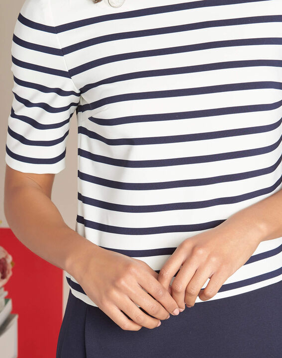 Petite striped navy blue straight-cut dress PhotoZ | 1-2-3