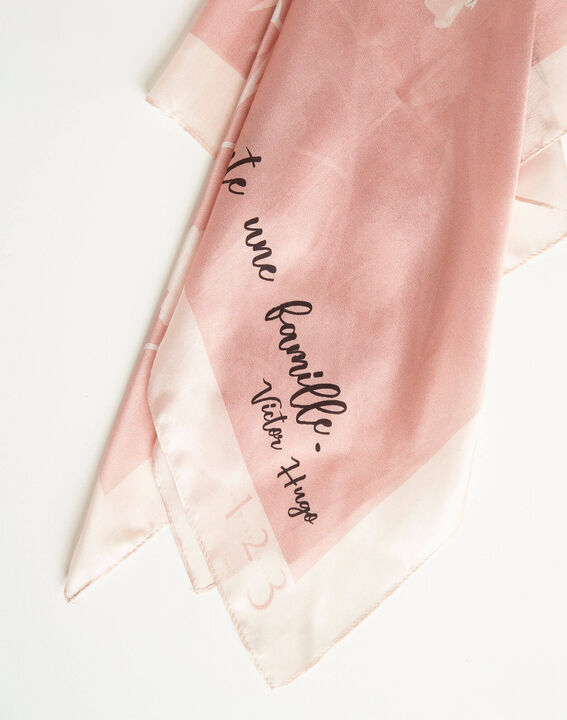 Amberita pale pink square silk scarf with floral quotation design PhotoZ | 1-2-3