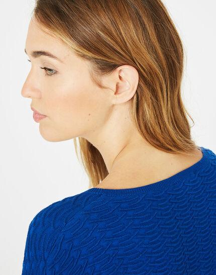 Königsblauer Pullover mit Zierstichen Pop (3) - 1-2-3
