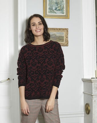Brocato patterned red sweater dark red.