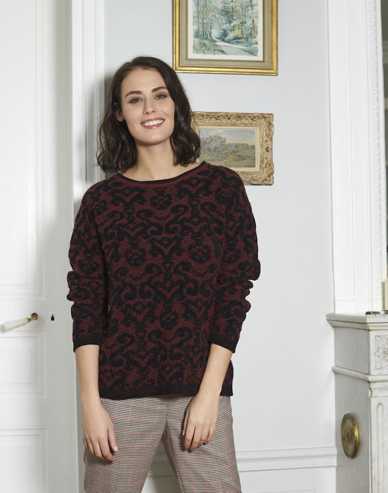 Pull rouge motif baroque Brocato (1) - 1-2-3