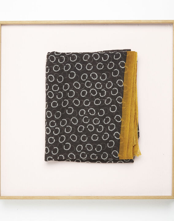 Fabiene black wool scarf with polka dot print  PhotoZ | 1-2-3