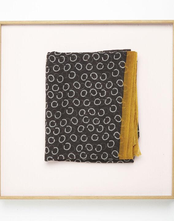 Fabiene black wool scarf with polka dot print  PhotoZ | 1-2-3