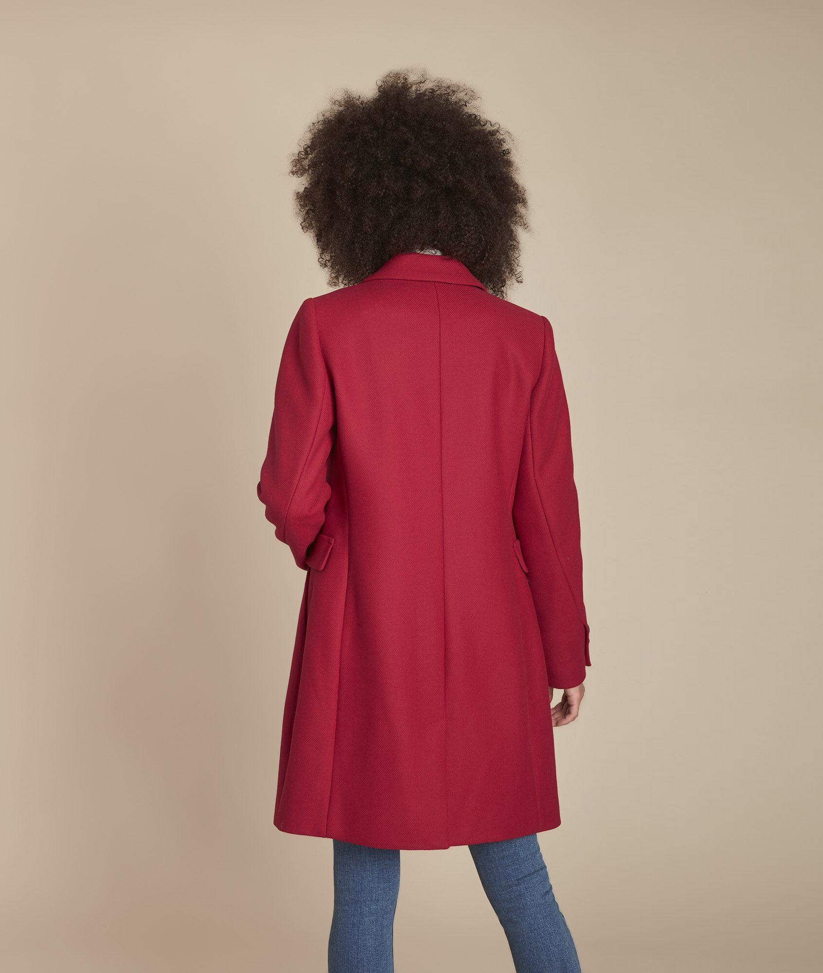 Plume 123 rouge laine FemmeMaison en droit mélangée Manteau D2HIYW9eE