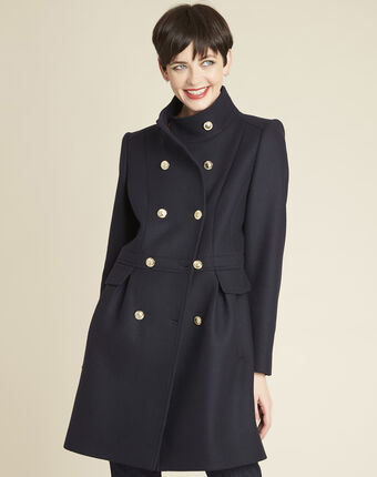 Jasmin double-breasted navy blue coat navy.