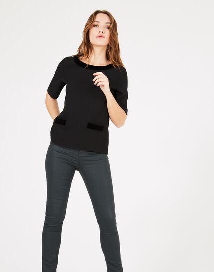 Tee-shirt noir à empiècements velours Livia (2) - 1-2-3