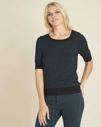 Becca dark green polka dot sweater with contrasting trim forest green.