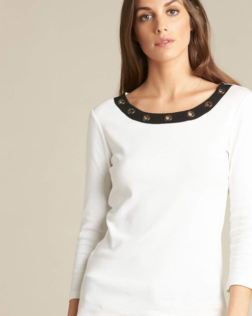 Basic ecru T-shirt with eyelets on the neckline (1) - 1-2-3