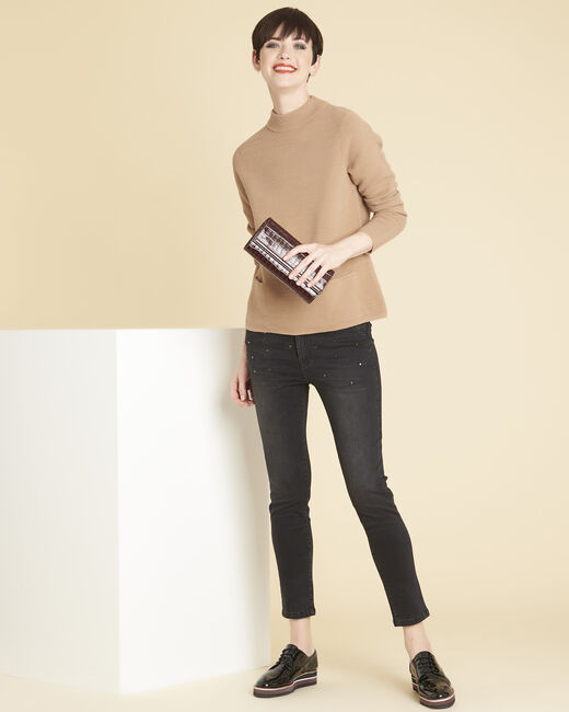 Belize fine-knit beige sweater with high collar (1) - 1-2-3