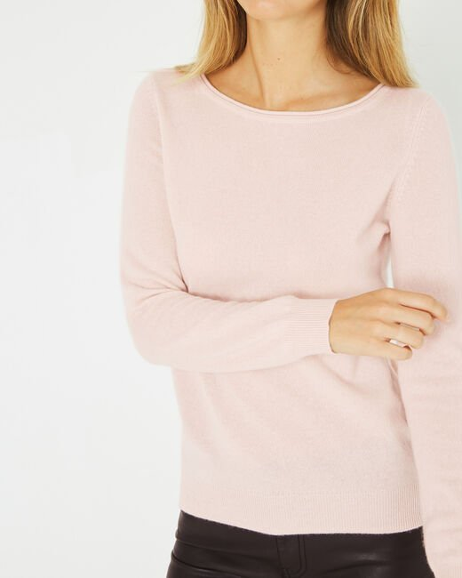 Petunia powder pink, cashmere sweater with round neck (1) - 1-2-3