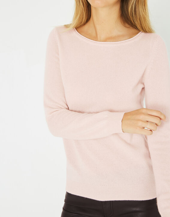 Petunia powder pink, cashmere sweater with round neck PhotoZ | 1-2-3