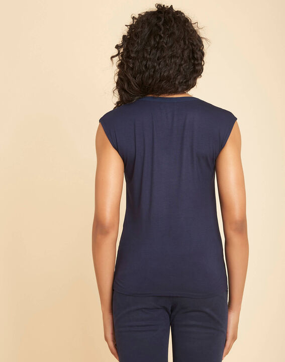 Bianca navy blue dual-fabric T-shirt with short sleeves and fishnet neckline (4) - 1-2-3