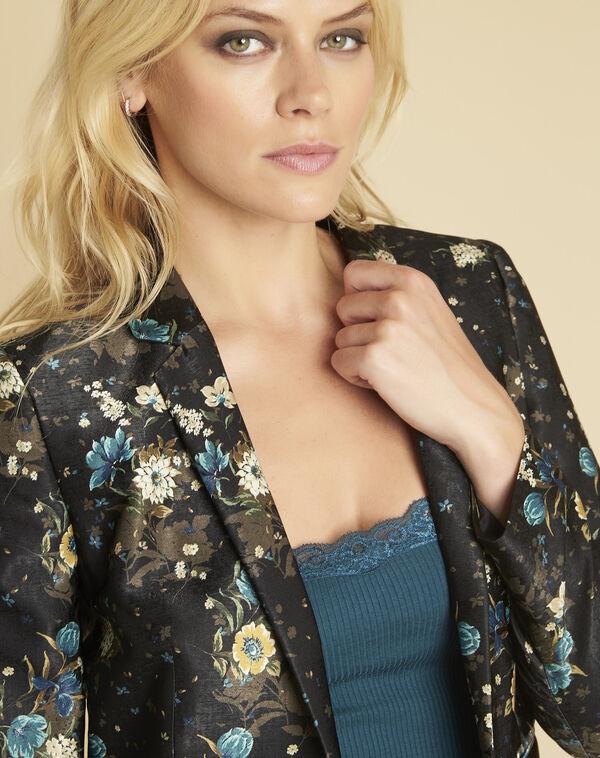 Schwarze Jacke mit Blumenprint Demoiselle (2) - 1-2-3