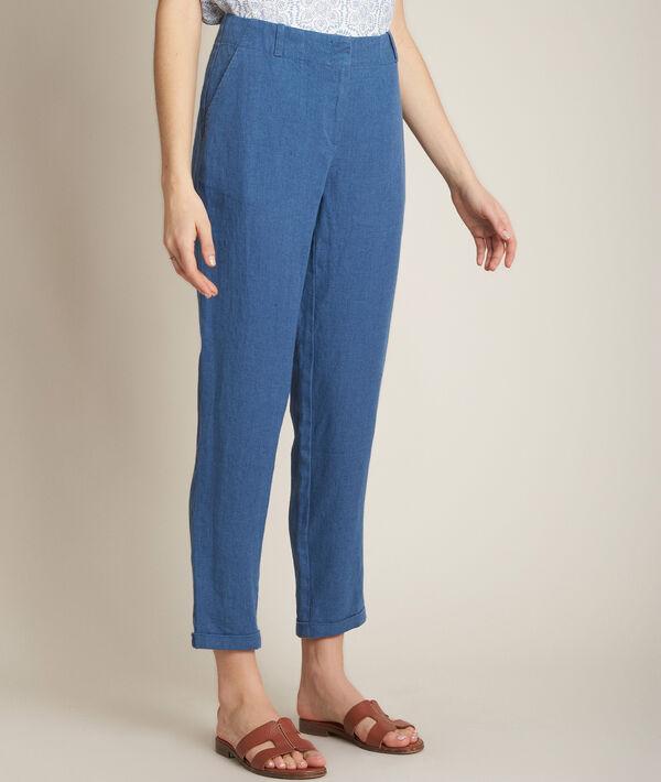 Pantalon chino en lin indigo Ignacio PhotoZ | 1-2-3