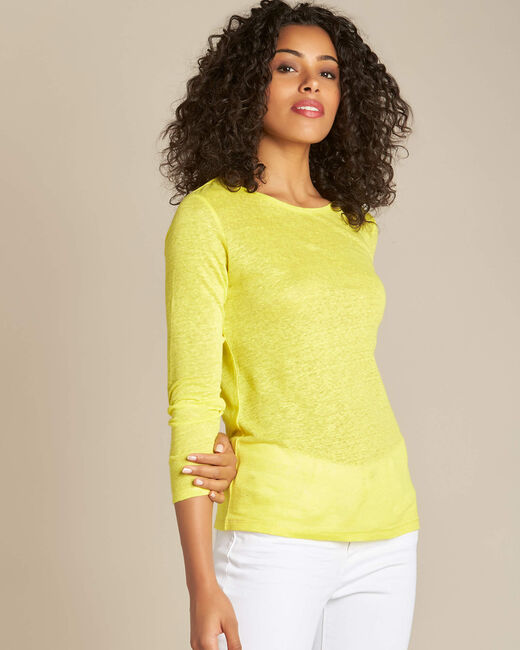 Elin lemon long-sleeved T-shirt in linen. (2) - 1-2-3