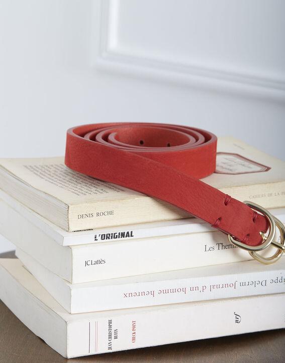 Ceinture rouge double boucle en cuir Quorentin PhotoZ | 1-2-3