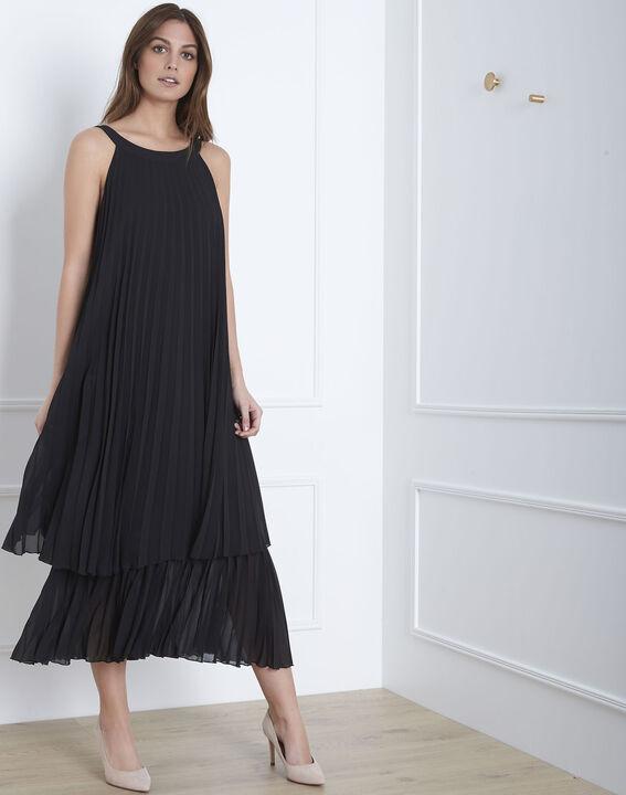 Langes plissiertes schwarzes Kleid Nice PhotoZ | 1-2-3