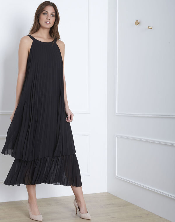 Nice long black pleated dress (1) - 1-2-3