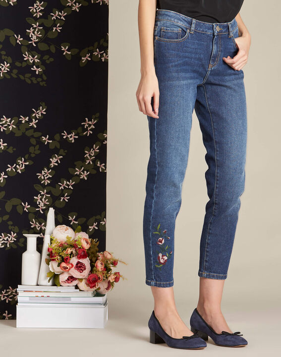 Rivoli 7/8 length indigo girlfriend jeans (3) - 1-2-3