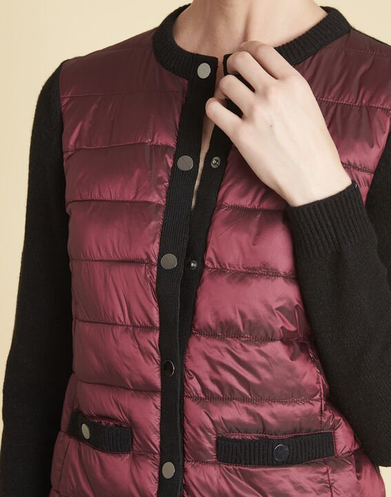 Snow red quilted dual-fabric jacket (3) - Maison 123