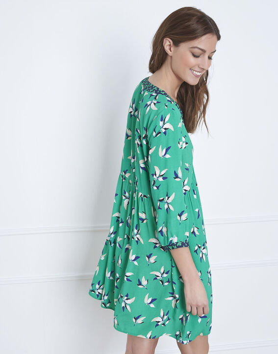 Robe vert clair imprimé fleuri Latika (4) - Maison 123