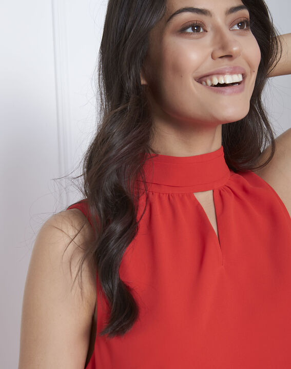 Robe rouge col montant Heloise (3) - Maison 123