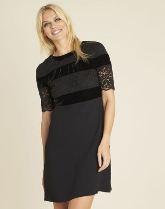 Noor black dual-material lace dress black.