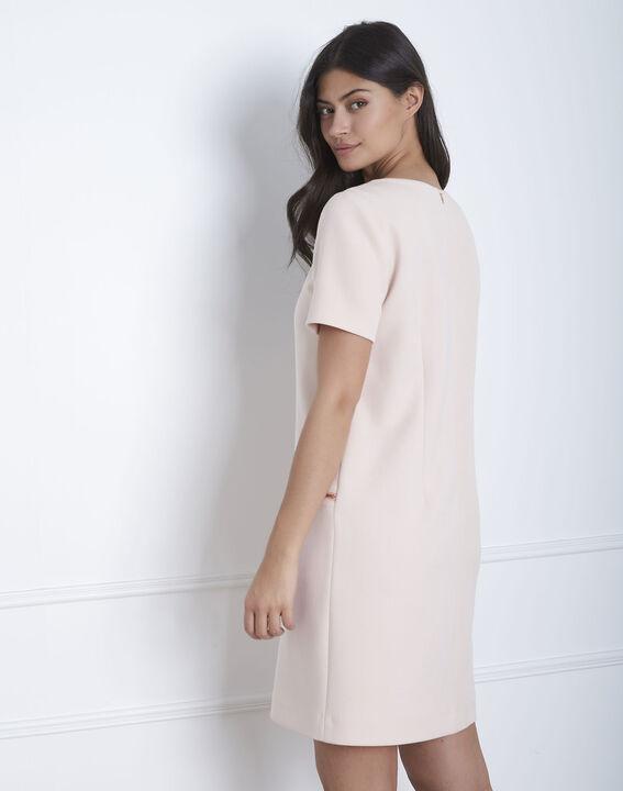Gerade geschnittenes, puderfarbenes Kleid mit Reißverschlusstaschen Legende (4) - Maison 123