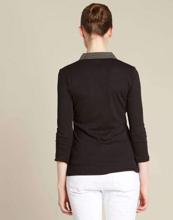 T-shirt noir col chemisier contrasté Bowling (4) - 1-2-3