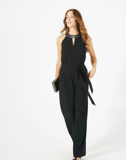 Carly black jumpsuit with Swarovski-embellished neckline (2) - 1-2-3