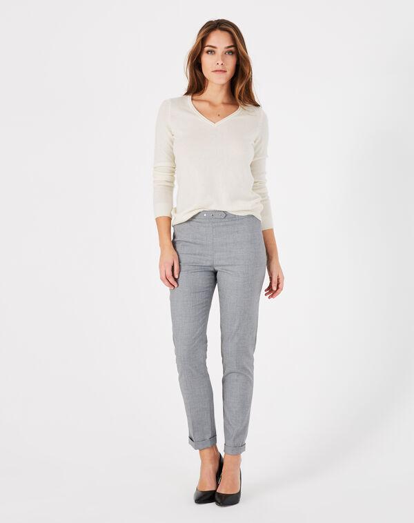Pantalon de tailleur gris à revers vupsy à