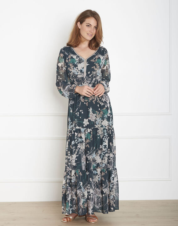 Robe longue verte imprimé fleuri Lucille PhotoZ   1-2-3