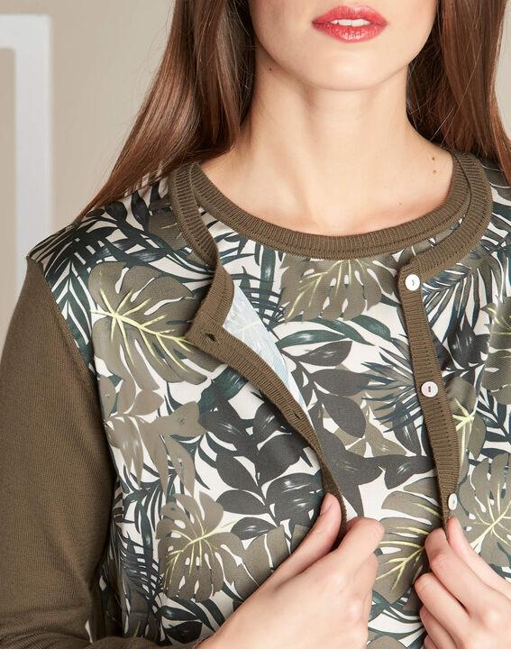 Khakifarbene Strickjacke im Materialmix mit Blätterprint Nature PhotoZ   1-2-3