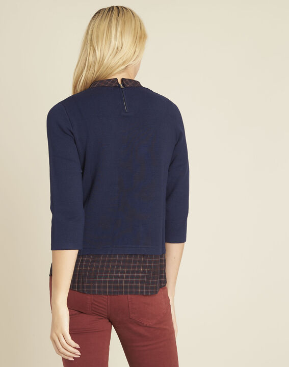 Banjo navy blue check printed sweater (4) - 1-2-3