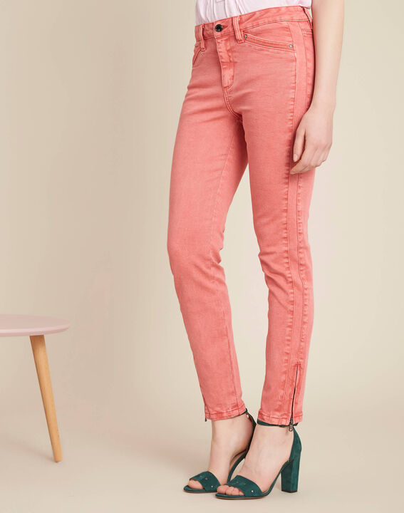 Opera slim-cut coral jeans with ankle zips (3) - 1-2-3